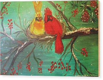 Cardinals Winter Scene Wood Print