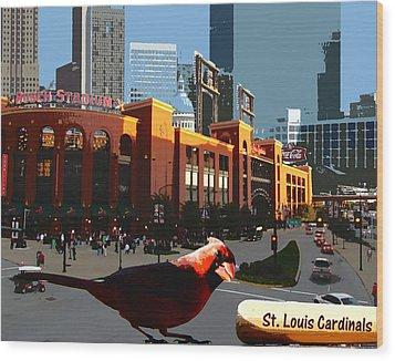 Wood Print featuring the digital art Cardinal Town by John Freidenberg
