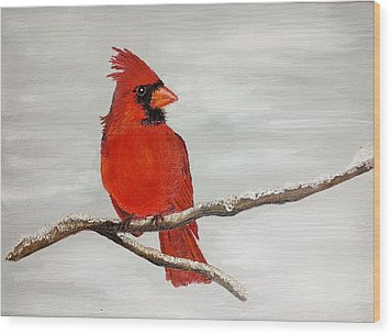 Cardinal Wood Print by Valorie Cross
