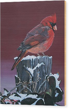 Cardinal Winter Songbird Wood Print