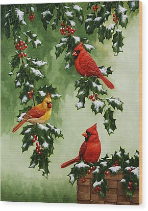 Cardinals And Holly - Version With Snow Wood Print by Crista Forest