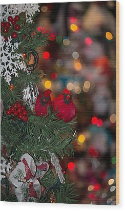 Wood Print featuring the photograph Cardinals At Christmas by Patricia Babbitt