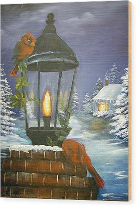 Cardinals At The Lamplight Wood Print