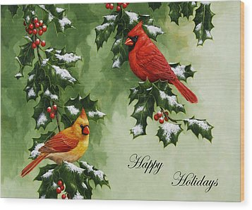 Cardinals Holiday Card - Version With Snow Wood Print by Crista Forest