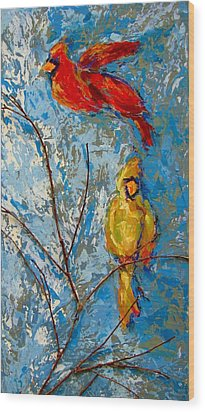 Cardinals On Twig Wood Print by Kat Griffin