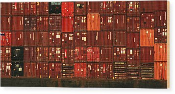 Cargo Containers Port Of Seattle Wood Print by David Gilbert