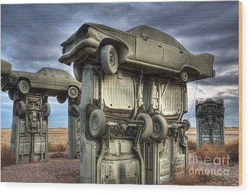 Carhenge Automobile Art 2 Wood Print by Bob Christopher