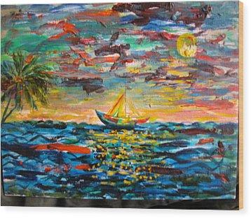 Caribbean Landscape Wood Print