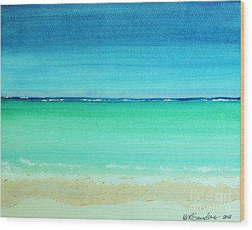 Caribbean Ocean Turquoise Waters Abstract Wood Print