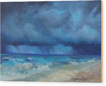 Caribbean Storm Wood Print by Chris Brandley