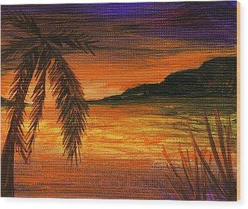 Caribbean Sunset Wood Print by Anastasiya Malakhova