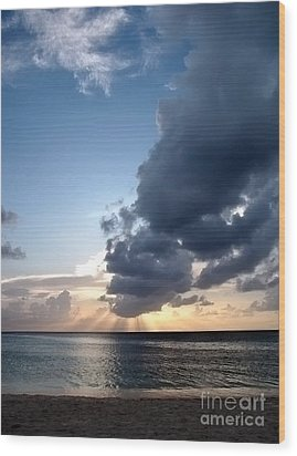 Caribbean Sunset Wood Print by Peggy Hughes