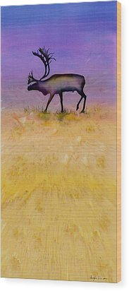Caribou On The Tundra 2 Wood Print by Carolyn Doe