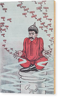 Caricature Of Stalin Wood Print by Adrien Barrere