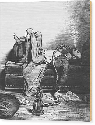 Caricature Of The Romantic Writer Searching His Inspiration In The Hashish Wood Print by French School