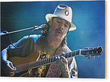 Carlos Santana On Guitar 3 Wood Print