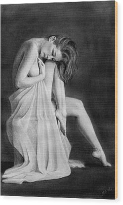 Wood Print featuring the drawing Carly by Joseph Ogle