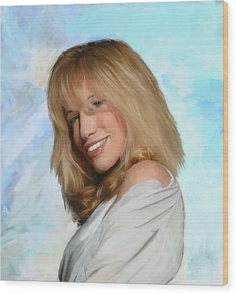 Carly Simon Wood Print by G Cannon