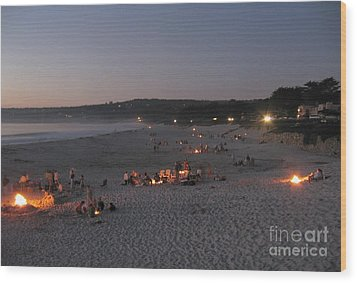 Wood Print featuring the photograph Carmel Beach Bonfires by James B Toy