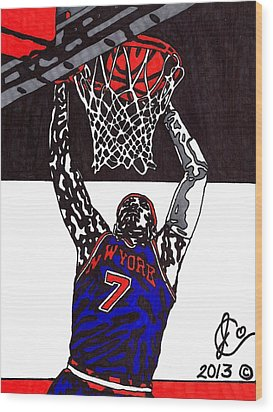 Carmelo Anthony Wood Print by Jeremiah Colley
