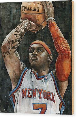 Carmelo Anthony Wood Print by Michael  Pattison