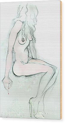 Wood Print featuring the drawing Carmen As Pussy L'amour - Female Nude by Carolyn Weltman