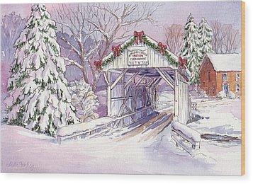 Carmichaels Covered Bridge Wood Print by Leslie Fehling
