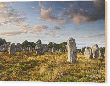 Carnac Alignments Brittany France Wood Print by Colin and Linda McKie