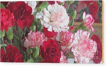 Carnation Cluster Wood Print