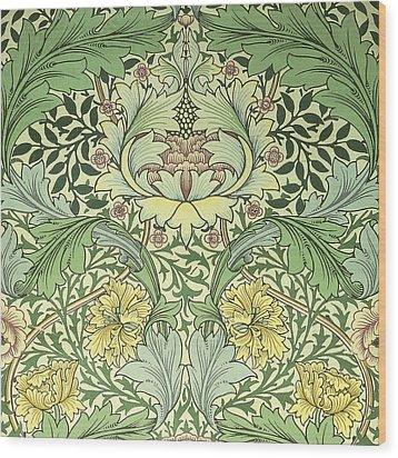 Carnations Design Wood Print by William Morris