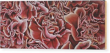 Carnations Wood Print by Paula L