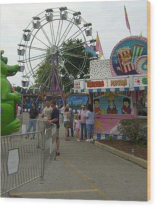 Carnival Ferris Wheel Wood Print by Ann Willmore