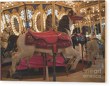 Carnival Festival Merry Go Round Carousel Horses  Wood Print by Kathy Fornal