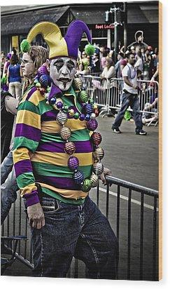 Carnival Jester Wood Print by Ray Devlin