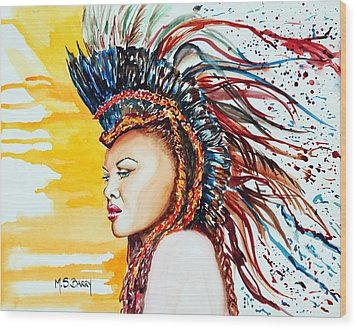 Carnival Queen Wood Print by Maria Barry