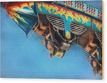Carnival - Ride - The Thrill Of The Carnival  Wood Print by Mike Savad