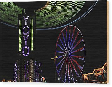 Carnival Rides Wood Print by Jp Grace