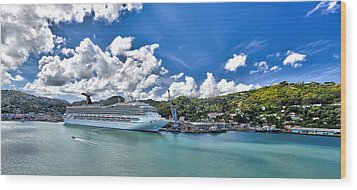Carnival Valor At St. Lucia Port  Wood Print