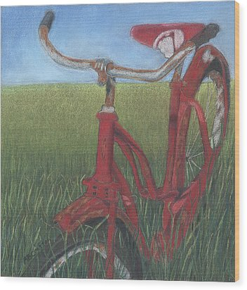 Wood Print featuring the drawing Carole's Bike by Arlene Crafton
