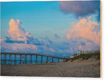 Carolina Blue Over Kure Beach Wood Print by Mary Ward