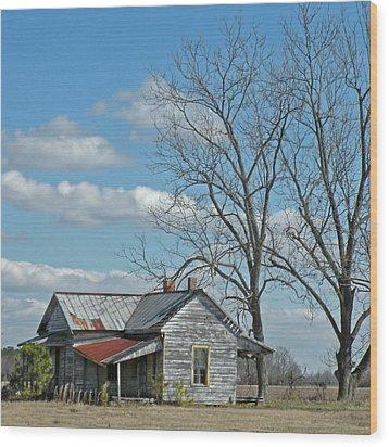 Carolina Farm House Wood Print by Deborah Smith