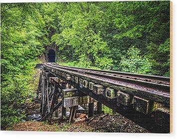 Carolina Railroad Trestle Wood Print by Debra and Dave Vanderlaan