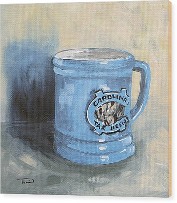 Carolina Tar Heel Coffee Cup Wood Print