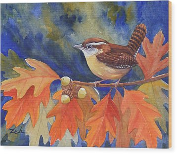 Carolina Wren In Autumn Wood Print