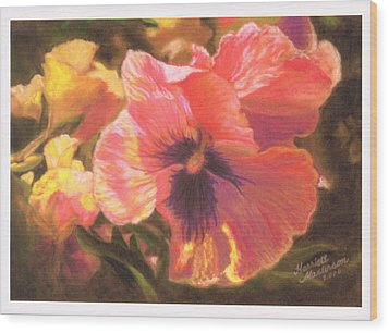 Caroline's Pansies Wood Print