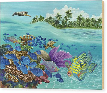 Coral Carnival Wood Print by Carolyn Steele