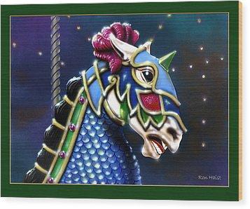 Carosel Horse Wood Print by Ron Haist