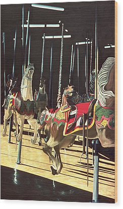 Carousel Wood Print by Anthony Butera