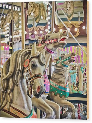 Carousel At Casino Pier Wood Print by Colleen Kammerer