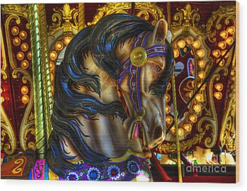 Carousel Beauty Waiting For A Rider Wood Print by Bob Christopher